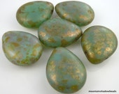 6 Czech Glass Beads Matte Milky Peridot Copper Picasso - 16mm Tear Drop  (G - 631)