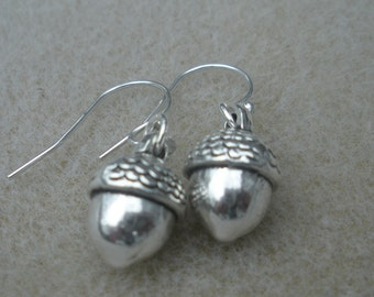 Acorns on sterling silver Earwires