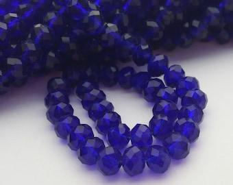Glass Beads - 42 pcs - Dark Cobalt Blue Beads - Faceted - 6mm x 4mm - Rondelles - Blue Glass Beads