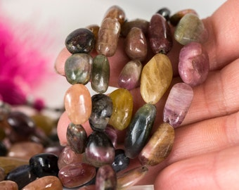 Watermelon Tourmaline Beads, Green and Pink Tourmaline Smooth Nuggets, Full 8 inch Strand- Item 204a
