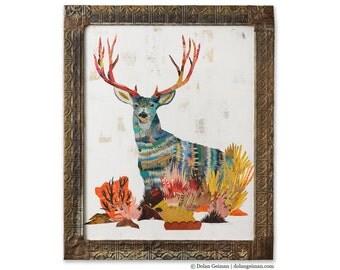 Mule Deer Buck Paper Collage Art