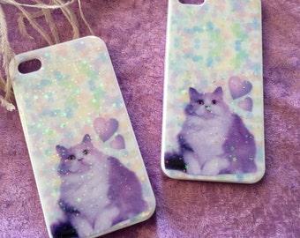 Lilac Fat Cat Glitter Phone Case for iPhone 4/4S, 5S or 5c