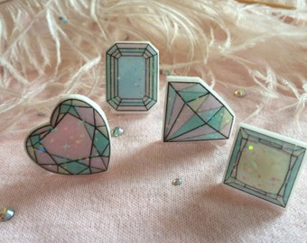 Pastel Acrylic Gem Ring Set