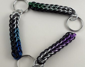 Chainmaille Key Chain - Ombre Keychain - Full Persian Chainmaille Key Chain - Key Ring - Metal Key Ring - Color Gradient Keychain