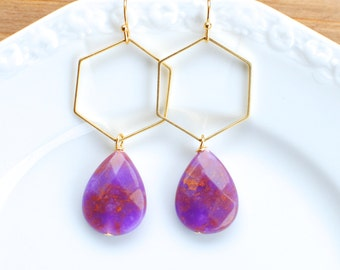 Gold Hexagon with Orange and Purple Swirl Teardrop. Clemson Dangle Earrings.