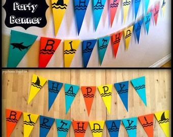 "PDF: Shark Party Pennant Banner - ""Happy Birthday"" Shark Pennant Banner - Water Ocean Sea Waves Font"