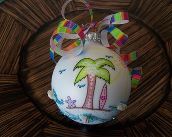 Beach Theme Glass Ornament