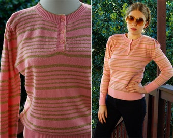 GOLD Striped 1970's 80's Vintage Bubblegum Pink Sweater with Gold Metallic Stripes // size Medium