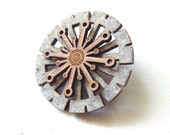 Bamboo Wood and Felt Brooch - Pin - Laser Cut - Mod - Grey