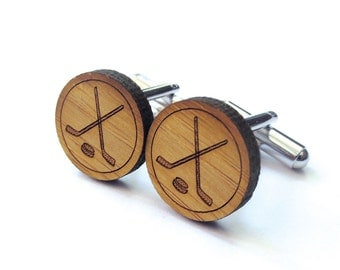 Ice Hockey Cufflinks. Hockey Cufflinks. Wood Cufflinks. Groomsmen Gift. Groom Gift. Gift For Men. Mens Gift. Gifts For Dad. Gifts Under 25.