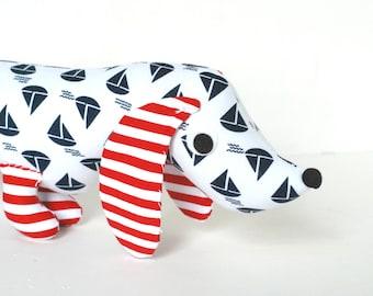 Nautical Nursery Decor Toy Wiener Dog Stuffed Animal Plush Dachshund SAM