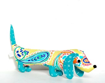Citron and Turquoise Paisley Dachshund Plushie Wiener Dog Softie Plush for Kids NORM