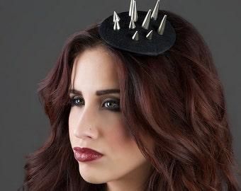 Spiked - Spiked headpiece Spikes Hat Fascinator Black Headpiece