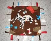 Cute Dog Print Baby Sensory Taggie Blanket