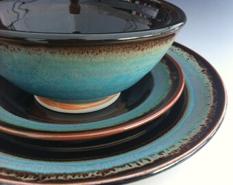 Ceramic Dinnerware Set - Made to Order - Turquoise Brown Black