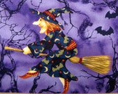 Fat Quarter Halloween Life Like Witches on Purple Broom Spiders Webs Bats, Trick or Treat -Exclusive for Hancock Fabrics, Inc. - OOP