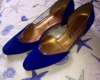 Vintage 80's Coup D'etat Blue Suede (?) Cinderella Pumps size 6