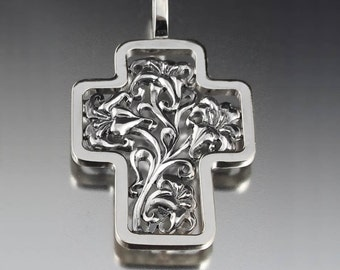 Floral Silver Cross Art Nouveau inspired