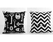 "Pillow Cover 14"" - Black & White - Key Front and Chevron Back"