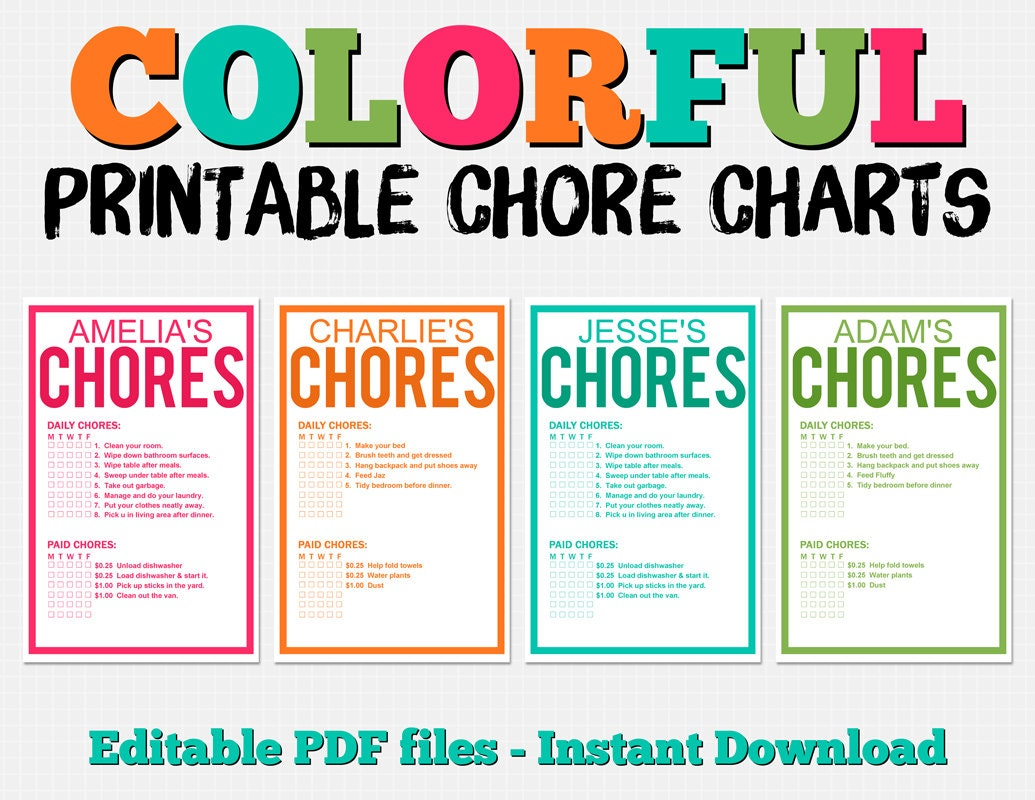 Colorful Customizable Chore Chart Pack Instant Download