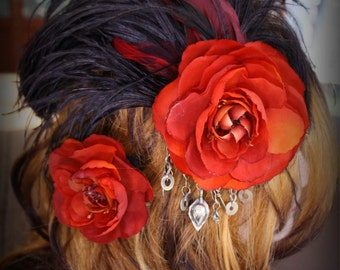 SALE 25% OFF!!! Flamenco Sunset Feather Fascinator Set