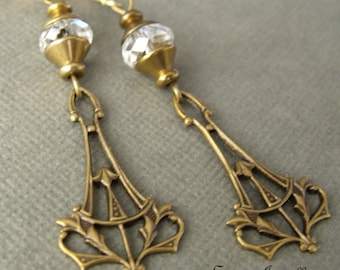 Art Nouveau Earrings, Clear Faceted Glass With Natural Brass Bead Caps, Dangle Earrings, Brass Jewelry,