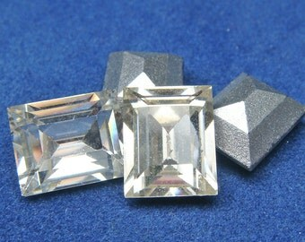 RECTANGLE RHINESTONES Vintage SWAROVSKI Austria  8 mm x 10 mm Lot of (25)  Glass  Rectangle jc 810rectsb  Silver Foil Back  MoRE AVAlLABLE