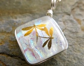 22k Gold Dragonfly Dichroic Glass MINI PENDANT Wire Wrapped Fused Glass