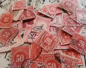 100 Antique ... Postage Due Stamps. Lovely, Used, Antique, STAMPS.