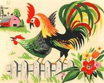 Vintage Roosters 1 Cross Stitch Pattern PDF