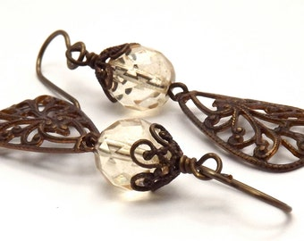 Brass Filigree and Czech Crystal Earrings