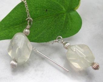 Pineapple Quartz Ear Threads Threader Earrings Sterling Silver (SE741)