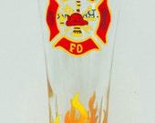 Fireman Glass - custom glass hand painted glass beer glass