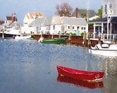 Fine Art Photograph Nantucket Photo Archival Print  Red Boat Gift Under 50 Manipulated Photography