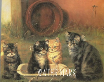 Cats, Kitten, Kittens in tub.Darling Instant Digital Download,tags, frame,greeting cards, sales tags,sewing