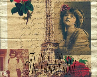 Digital download instant,Paris France*Eiffel tower*French girls*French script*300 dpi* decoupage, collage,sewing.ornaments
