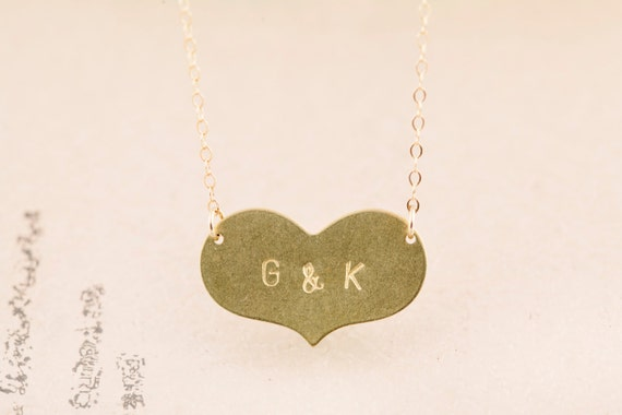 Valentines Day Necklace - Two Lovers' Initials - Brass and 14K GF -