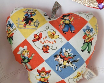 Happy Apple Pillow - Cowboys and Cowgirls -