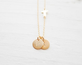 Personalized Cross Necklace Gold Monogram Necklace with Asymmetrical Sideways Cross Charm Cross Initial Necklace Gold Cross Pendant