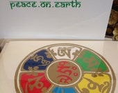 Buddhist Christmas card set of 4 greeted Peace on Earth