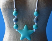 SALE Silicone Star Teething bead necklace FREE SHIPPING--limited edition, water proof, rubber, food grade, baby, mother