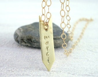 Tiny Gold Arrow Necklace // Merci - Thank You // Gratitude Necklace // 14K Gold Fill // Gift under 50