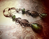 KHEPERA earrings brass and glass bead dangle