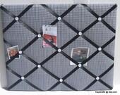 Black White Gingham Memory Board French Memo Board, Fabric Ribbon Bulletin Board, Fabric Photo Board, Home Decor, New Baby Gift
