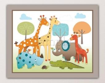 Kids Wall Art. Giraffe Safari Nursery Art Print- made to match a beddding set. Cute Jungle Animals, Fun Colors. Giraffe, Elephant, Birds