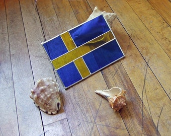 Glass Swedish Flag, Stained Glass Flag, Unique Home Decor - Flag of Sweden
