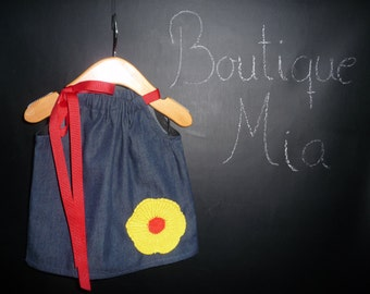 Pillowcase DRESS - Denim - Crochet Flower - 2 Years of Fashion - Pick the size Newborn up to 12 Years - by Boutique Mia