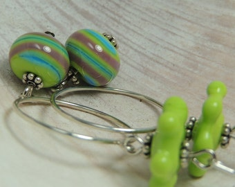 LOOPY Handmade Lampwork Dangle Earrings