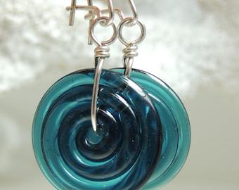 STEEL BLUE SWIRL Handmade Lampwork Dangle Earrings
