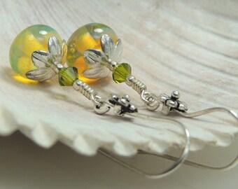 OPAL SUNSHINE Handmade Lampwork Dangle Earrings
